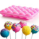 Torta Pop Mold, Torta Pop Sticks, Pan Candy Ice Sfera Del Vassoio Del Silicone 20 Cavità Con 20 Bastoni Di Plastica Della Decorazione Di Diy Per La Casa Festa Rosa