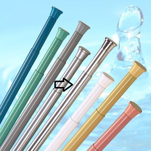 KS Handel 24 DUSCHVORHANG Stange 190-300 cm ALU Silber GLÄNZEND TELESKOPSTANGE DUSCHVORHANGSTANGE Chrom ** EXTRA LANG ** Spring Shower Rod!