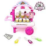 TONZE Eiswagen Spielzeug Kaufladen Zubehör Rollenspiele Eisdiele Kinderspielzeug Pädagogisches Spielzeug Kinderspiele Geschenke für Kinder Mädchen Jungen ab 3 4 5 Jahren