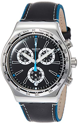 Swatch Herren Chronograph Quarz Uhr mit Leder Armband YVS442