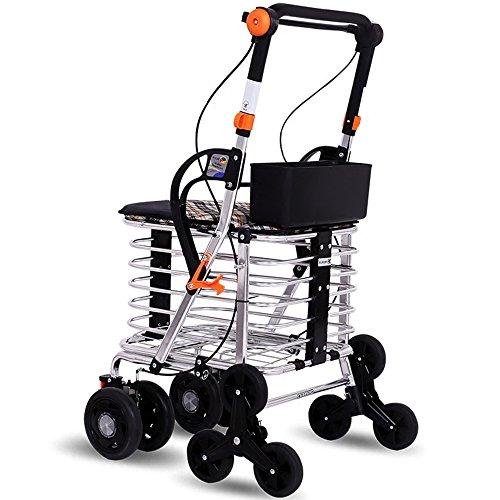 Rollator aus Aluminium Walker klappbar Rollwagen 4 Räder Leichtgewichtrollator mit Sitzfläche und Korb