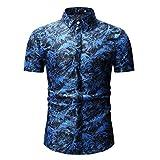 xmiral camicia da uomo camicia slim fit camicia da uomo, stile inglese, elegante, aderente, a maniche corto, colletto turn-down con bottoni l blu-1