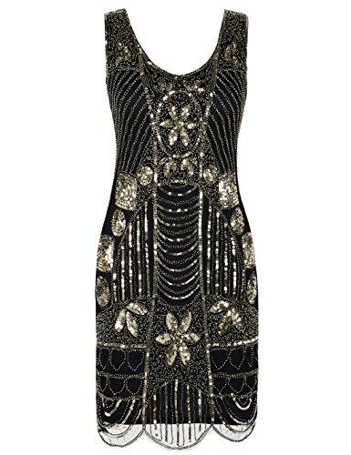 PrettyGuide Women's 1920s Gatsby Sequin Art Deco Plus Size Cocktail Flapper Dress 3XL Gold