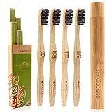 ecopura Bambus Zahnbürsten, 4er Set Holzzahnbürste mit Etui, Nachhaltig, Vegan, BPA frei, Zahnbürste aus Holz mit Aktivkohle für weissere Zähne