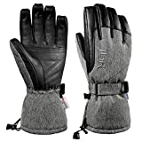 MCTi Ski Gloves Winter Waterproof Snowboard Snow Warm Thinsulate PU Leather Cold...