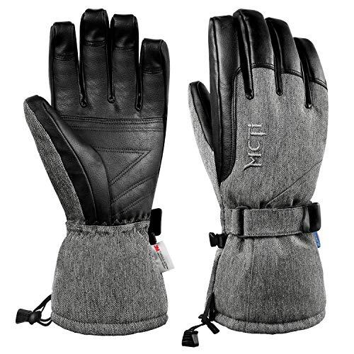 MCTi Skihandschuhe Winter Wasserdicht Snowboard Schnee Warm 3M Thinsulate PU Leder Kaltes Wetter Handschuhe für Herren Damen