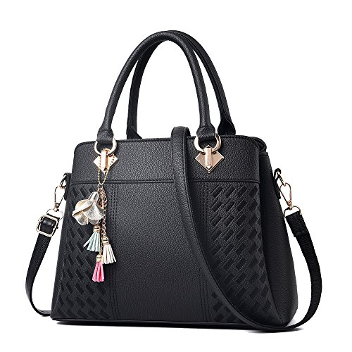 Womens Purses and Handbags Ladies Designer Satchel Tote Bag Shoulder Bags, Black