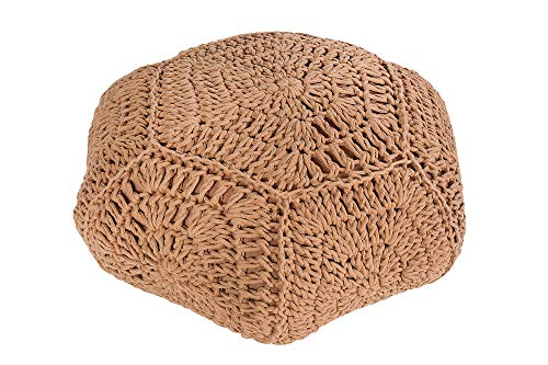 DuNord Design Zitkussens Bruin Gebreide Stand 70 cm Base Sheffield Gebreide Poef Tafel