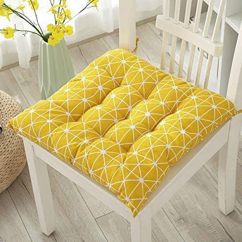 Uministyle Pack of 2 Padded Cushion Chair Seat Pads Chair Seat Cushion Pads for Dining Chair Seat Pad Dining Room Garden Kitchen Office Chair Cushions 40x40 cm with ties (yellow)