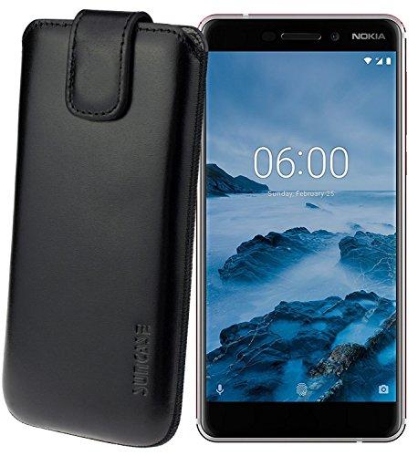 Suncase Original Etui Tasche für Nokia 6 (2018) | Nokia 6.1 *Lasche mit Rückzugfunktion* Handytasche Ledertasche Schutzhülle Hülle Hülle in Schwarz