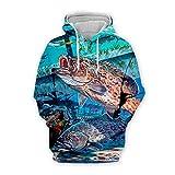 Men Women 3D Tropical Fish Printed Hoodie Long Sleeve Pullover Hooded Sweatshirts Tops Blouse K3 3XL
