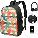 Rucksack mit USB-Schnittstelle Hand Drawn Pattern with Pineapple Waterproof Laptop Backpack with USB Charging Port Headphone Port Fits 17 Inch Laptop Computer Backpacks Travel Daypack School Bags for