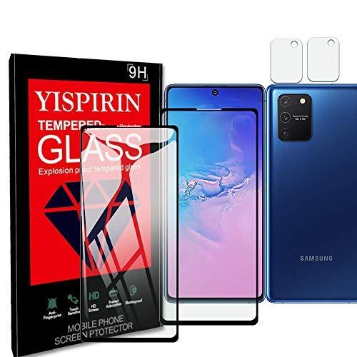 YISPIRIN Protector de pantalla y protector de cámara para Samsung Galaxy S10 Lite [2+2 piezas] [antihuellas] [dureza 9H] [ajuste curvado 3D] Protector de vidrio templado para Samsung Galaxy S10 Lite