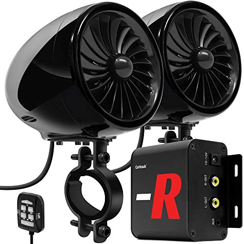 "GoHawk TJ4-R Amplifier System 4"" Full Range Waterproof Bluetooth Motorcycle Stereo Speakers 1 to 1.5 in. Handlebar Mount Amp Harley Touring Cruiser ATV 4-Wheeler, AUX, FM Radio"