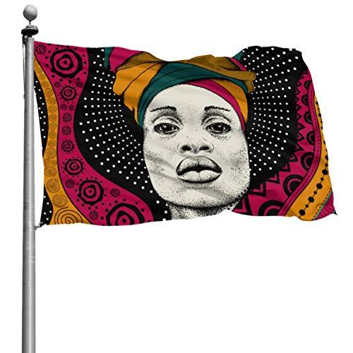 ZHANGhome Decoración de Bandera Colgante Mujer Africana con pañuelo Africano Camper Yard Flags Bandera de Fiesta 4x6 Ft (120x180cm) Poliéster con Ojales Decoraciones Interior/Exterior