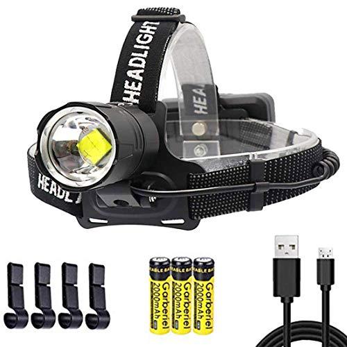 LED Stirnlampe 10000 Lumen XHP70.2 Kopflampe Super Hell, 3 Modi IPX4 Wasserdichte Wiederaufladbare USB Stirnlampen für Camping, Reiten, Laufen, Laufen mit dem Hund, Angeln, Autoreparatur