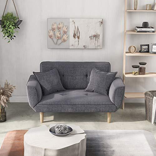 belupai Sofá cama moderno y simple gris sofá de tela de lino con agarre sala de estar 2 plazas sofá sofá sofá sofá sofá cama cama reclinable gris claro