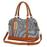 BAOSHA HB-28 Damen Canvas Carry-on Reisetasche Frauen Weekender Handgepäck Segeltuch Travel Duffel Wochenende über Nacht Tragetasche (Blaue Streifen)