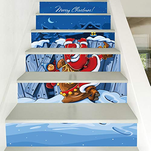 39.3 W X 7H X6 pcs Pegatina de escalera Santa Claus DIY Escaleras Pegatinas de pared Pegatinas de PVC Impermeable Papel pintado Personalidad Creativo de Pared