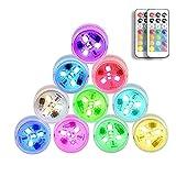SUNSHIN Mini Luces LED sumergibles RGB Luces de Humor bajo el Agua, con 2 Controles remotos, para Piscina al Aire Libre, decoración de iluminación del Acuario (Paquete de 10)