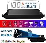 "HUD Display Car OBD2, 5"" FHD 1080P Gauge Head Up Display 3D Reflection 6 Mode ECU Datas Display Oil Temperature Coolant Temperature Speedometer Odometer Fuel Consumption Engine RPM Fault Alarm"