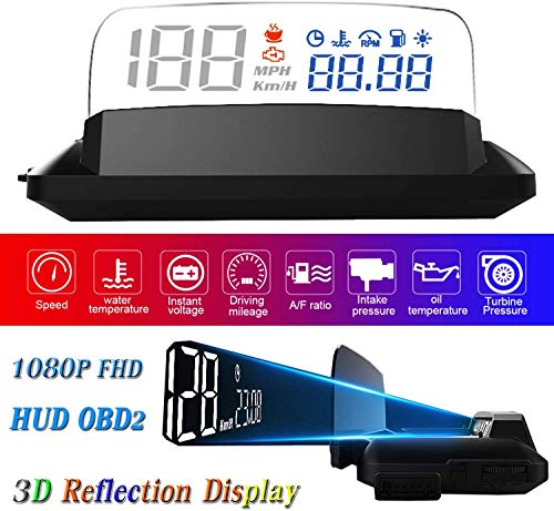 "YUGUANG HUD Display Car OBD2, 5"" FHD 1080P Gauge Head Up Display 3D Reflection 6 Mode ECU Datas Display Oil/Water Temperature Speedometer Odometer Fuel Consumption Turbo Pressure Engine Fault Alarm"