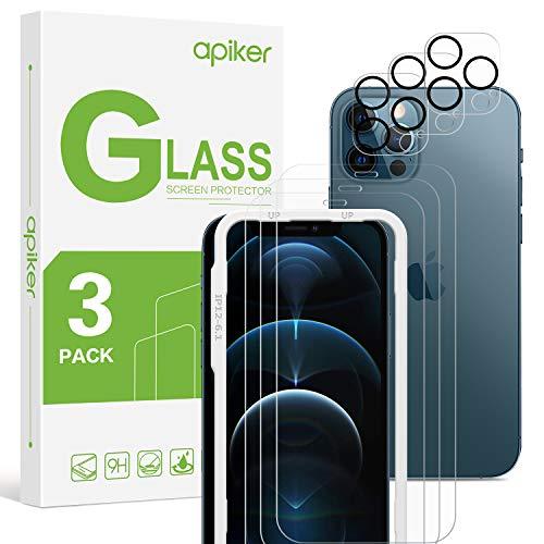apiker [3Stück Panzerglas+Kamerapanzerglas für iPhone 12 Pro, 9H Hartglas Blasenfrei Anti-Staub Anti-Öl 6.1 Schutzfolie