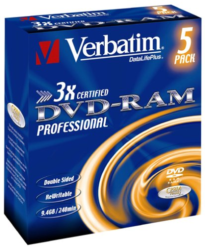 Verbatim DVD-RAM 3X Speed Cartridge Type 4 Double Sided (Removable) 5er Pack 9,4GB DVD-Rohlinge