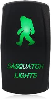 WATERWICH 5 Pin Sasquatch Lights Illuminated Rocker Toggle Switch Waterproof DC 20A 12V/10A 24V Black Shell/ON-Off SPST Rocker Switch for Auto Truck Boat Marine RV (Green)