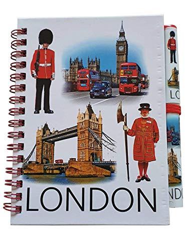 London Photos Notizbuch und Stift – Icons Landmarks / A6-Größe/passendes Design/Spiralbindung/Bilder von Big Ben/Royal Guard/roter Bus/schwarzes Taxi/Imker/britisches Souvenir aus England