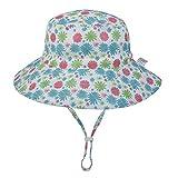 Mdsfexixianxinqus sombrero para el sol de algodón para niños protector solar de verano al aire libre sombrero de playa sombrero de cubo de verano sombrero para el sol del bebé cabeza azul flor 50-54cm