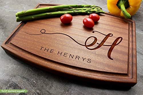 Personalized Engraved Custom Cutting Board - Elegant Monogram Initial - Walnut, Sapele or Maple #55