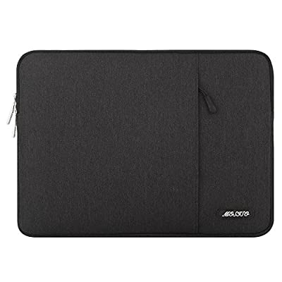 MOSISO Laptop Sleeve Bag Compatible with 13-13.3 inch MacBook Pro, MacBook Air, Notebook Computer, Vertical Style Water Repellent Polyester Protective Case Cover with Pocket, Black