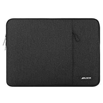 MOSISO Laptop Sleeve Bag Compatible with 13-13.3 inch MacBook Pro MacBook Air Notebook Computer Polyester Vertical Case with Pocket Black