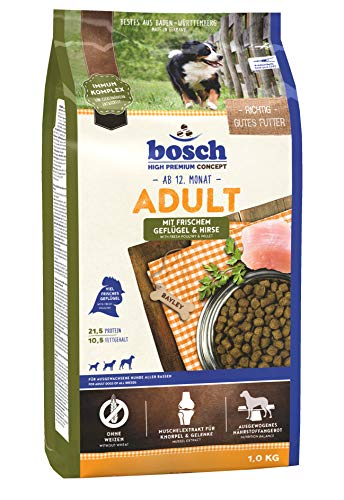 ボッシュアダルトチキン&キビ1歳以上通常活動レベルの成犬用総合栄養食全犬種用ハイプレミアムドッグフード1kg