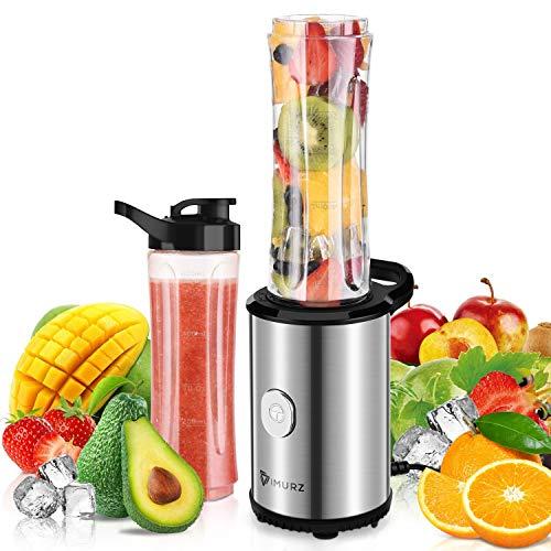 Mixer Smoothie Maker, Mini Blender mit 2x 600ml Tritan-Kunststoff Flaschen, Tragbar Standmixer für Shake, Smoothie, Eis, Getränk von Obst und Gemüse, 350 Watt, 23000 U/Min, BPA frei, Silber