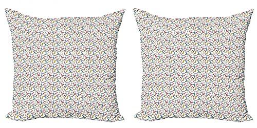 ABAKUHAUS Friki Set de 2 Fundas para Cojín, Doodle Colorido Pajaritas, con Estampado en Ambos Lados con Cremallera, 50 cm x 50 cm, Multicolor