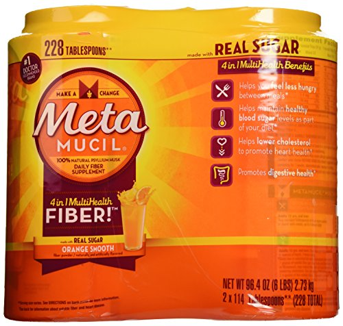 Metamucil With 100% Natural Psylluim Fiber, Orange, 48.2-Ounce Bottle (Pack of 2) by Metamucil