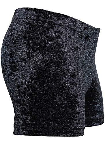 GymStern Mädchen & Damen Turnshorty Fitness Hipster elastisch Turnhose Oeko-TEX® 100 Farbe Crash Samt: Schwarz, Größe 176