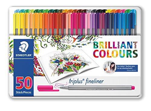 Staedtler 334 M50JB. Rotuladores Triplus Fineliner. Pack de 50 marcadores de colores surtidos. Edición Johanna Basford.