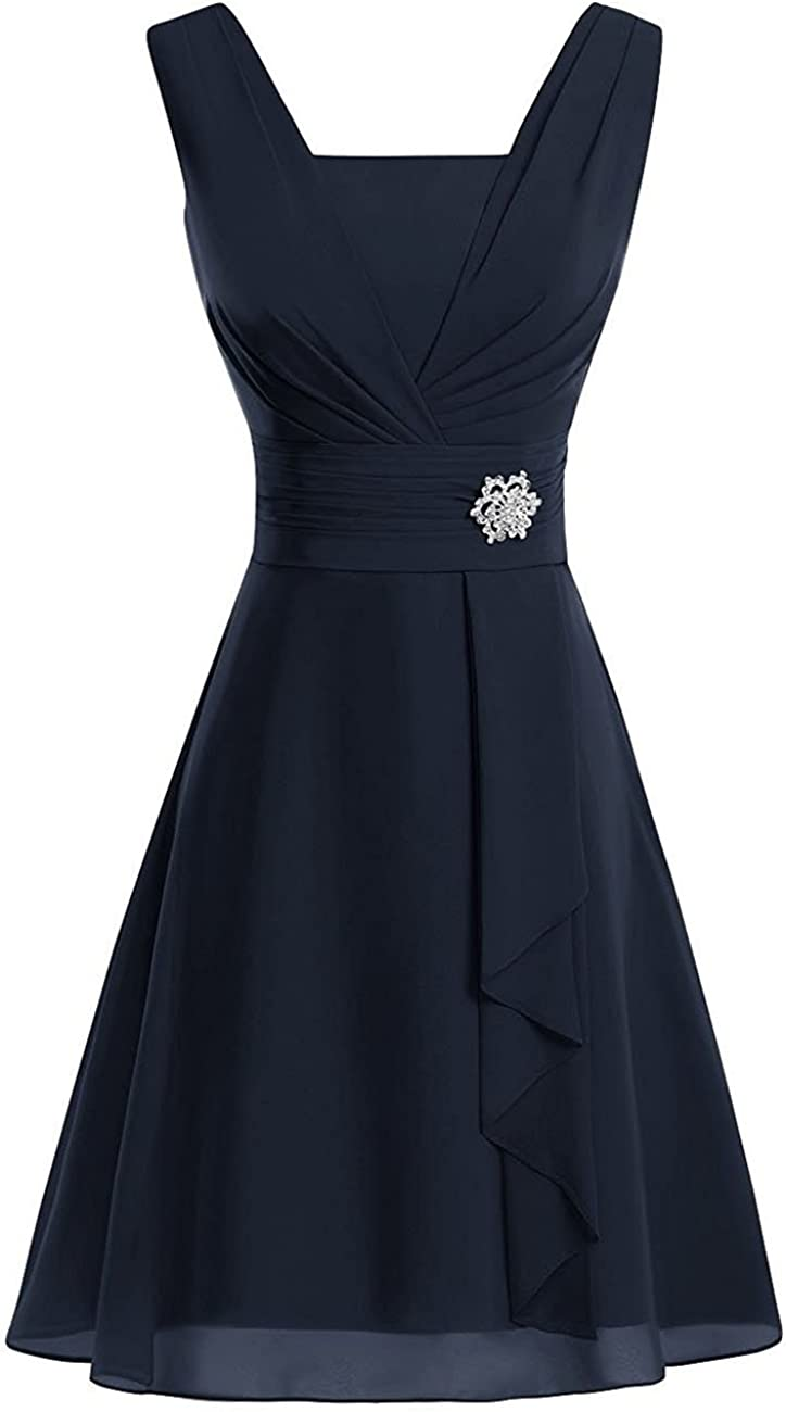 YOUTODRESS Chiffon V-Neck Mother of The Bride Dresses Short Wedding Guest Gowns