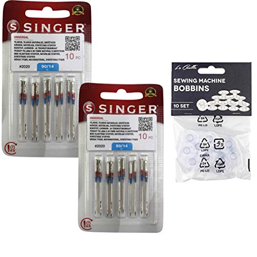 Pack de 20 Agujas para Máquinas de Coser Singer 2020 Universales Grosor 90/14 para Tejidos de Algodón y Sintéticos 130/705 H (Talón plano de un lado)