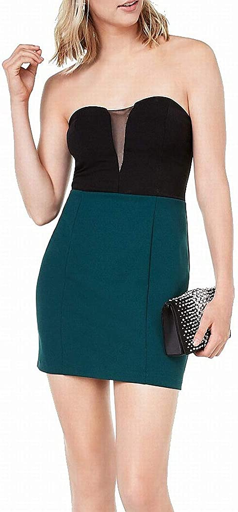 Speechless Sheath Dress Black Junior Colorblock Strapless Green 1