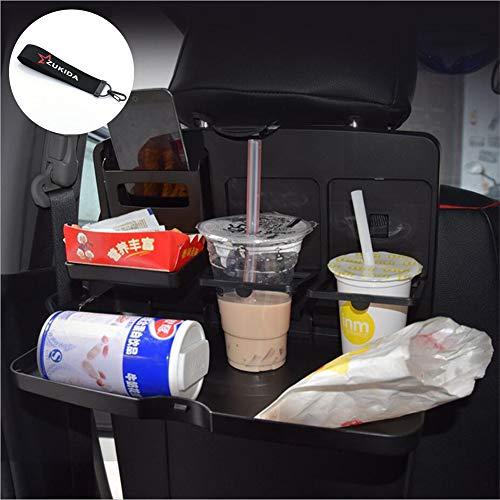 Zukida 車用トレイ カーテーブル リアシートトレイ カップホルダー 折りたたみ式 収納 リアシートーブル ドリンクホルダー付 後部座席 食事用テーブル