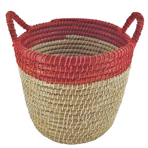 Papierkorb rund mit Henkel Ø 34cm – Kaisagras und Baumwolle - Fair Trade (Rot)
