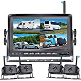"""LeeKooLuu F14 Wireless Digital Backup 4 Cameras 7"""" DVR Quad Split Monitor for RVs Trucks Trailers Bus 1080P High-Speed Observation System Rear View Side View Cameras with Grid Lines DIY Setting"""