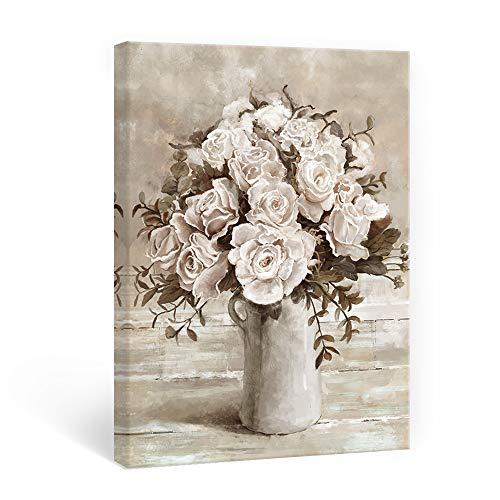 SUMGAR Lienzo Decorativo para Gris y Blanco Flores rústicas con Estilo Vintage para decoración de Pared romántica para Mujeres niñas baño Dormitorio Sala de Estar 30 x 40 cm
