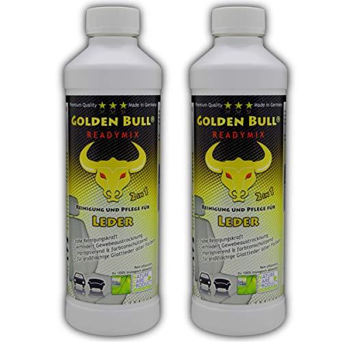 GOLDEN Bull Readymix für Glattleder Doppelpack, Lederreiniger, Lederpflege Leder Pflege Ökologisch Bio Auto (2-in-1) 2 x 500ml (1L), öko-Zertifiziert