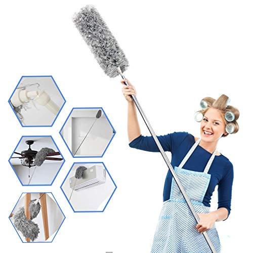 AIRLIWELL Dehnbarer Staubwedel Duster mit Edelstahl Teleskop Stange, Mikrofasern Staubwischer Staubbesen mit Verbiegbare Eckbesen, Entfernt Mühelos Staub und Spinnweben, Extra lang 78-245cm