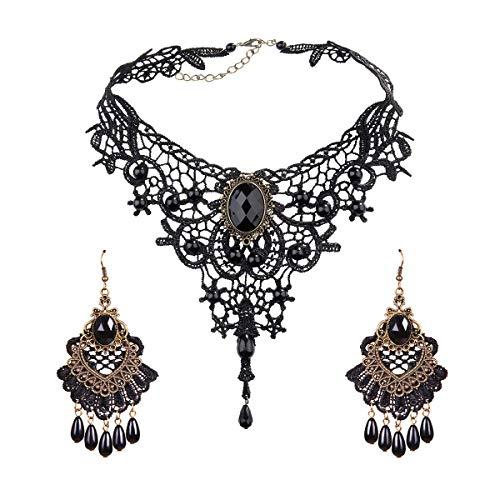 Eleganter Vintage Spitze Choker Halskette Ohrringe Set - Gothic Lolita Juwel Choker für frauen hochzeit geburtstag halloween weihnachten kostüm